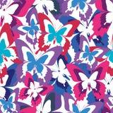 Jaskrawy bezszwowy wzór z kolorowymi motylami Zdjęcie Stock