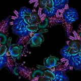 Jaskrawy bezszwowy wzór z kwiatami Liście Wzrastał beak dekoracyjnego latającego ilustracyjnego wizerunek swój papierowa kawałka  Fotografia Stock