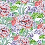 Jaskrawy bezszwowy wzór z kwiatami Liście Wzrastał beak dekoracyjnego latającego ilustracyjnego wizerunek swój papierowa kawałka  Obraz Royalty Free