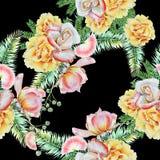 Jaskrawy bezszwowy wzór z kwiatami Liście Wzrastał beak dekoracyjnego latającego ilustracyjnego wizerunek swój papierowa kawałka  Obraz Stock