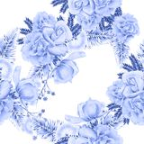 Jaskrawy bezszwowy wzór z kwiatami Liście Wzrastał beak dekoracyjnego latającego ilustracyjnego wizerunek swój papierowa kawałka  Zdjęcie Stock