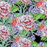 Jaskrawy bezszwowy wzór z kwiatami Liście Wzrastał beak dekoracyjnego latającego ilustracyjnego wizerunek swój papierowa kawałka  Obrazy Royalty Free