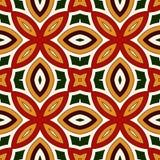 Jaskrawy bezszwowy wzór z kwiecistym ornamentem w Bożenarodzeniowych tradycyjnych kolorach Etniczni i plemienni motywy Obraz Stock
