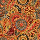 Jaskrawy bezszwowy wzór z Paisley mehndi elementami Wręcza patroszoną tapetę z kwiecistym tradycyjnym indyjskim ornamentem Zdjęcia Royalty Free
