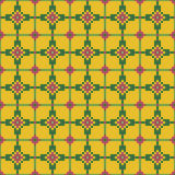 Jaskrawy bezszwowy zaszywanie wzór na ciemnym żółtym tle Fotografia Stock