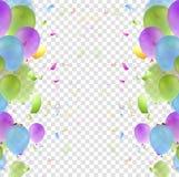 Jaskrawy confetti tło i balony ilustracja wektor