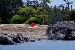 Jaskrawy czerwień pławik na nieskazitelnej plaży na środkowym wybrzeżu kolumbiowie brytyjska obraz stock