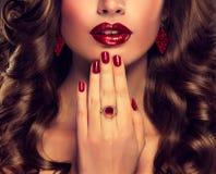Jaskrawy czerwony Makeup Zdjęcia Stock