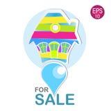 Jaskrawy dom dla sprzedaż loga Fotografia Stock