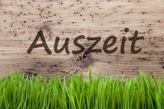 Jaskrawy Drewniany tło, Gras, Auszeit sposobów przestój obraz stock