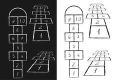 Jaskrawy hopscotch szablon również zwrócić corel ilustracji wektora Czerń na bielu, białym na czerni royalty ilustracja