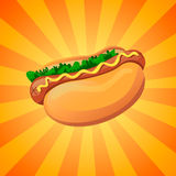 Jaskrawy hot dog Obraz Royalty Free