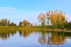 Jaskrawy jesieni rzeki krajobraz Fotografia Royalty Free