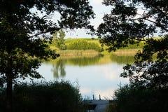 Jaskrawy jezioro z płocha lasem i most przy pogodnym letnim dniem obrazy royalty free