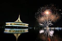 Jaskrawy kolorowi fajerwerki w parku na wieczór nieba tle zdjęcie royalty free