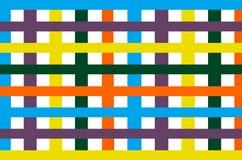 Jaskrawy kolorowy pasiasty ścienny tło, koloru pasek pionowo i horyzontalny Zdjęcie Stock