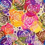 Jaskrawy kwiecisty wzór z stylizowanymi różami Wektorowa ilustracja z ręka rysującymi kwiatami Fotografia Royalty Free
