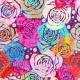 Jaskrawy kwiecisty wzór z stylizowanymi różami Wektorowa ilustracja z ręki rysować różami Fotografia Stock