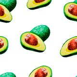 Jaskrawy lato akwareli wzór owoc: avocado ilustracja wektor