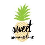 Jaskrawy lato sztandar z ręka rysującym ananasem, pisze list projekta elementu ` lata Słodki ` Zdjęcia Royalty Free