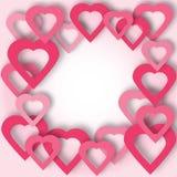 Jaskrawy menchia papieru serc wektoru tło Fotografia Stock