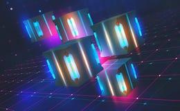 Jaskrawy neonowy światło Kwantowy procesoru pojęcie Blockchain technologia w wirtualnej cyberprzestrzeni 3D ilustracja na technik royalty ilustracja