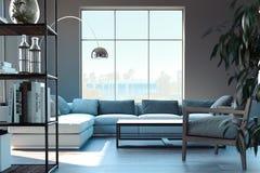 Jaskrawy nowożytny żywy izbowy wnętrze świadczenia 3 d ilustracja wektor