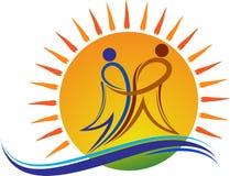 Jaskrawy para logo royalty ilustracja