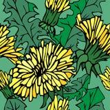 Jaskrawy pociągany ręcznie wzór z kolorów żółtych liśćmi i kwiatami royalty ilustracja