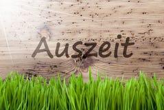 Jaskrawy Pogodny Drewniany tło, Gras, Auszeit sposobów przestój zdjęcia stock
