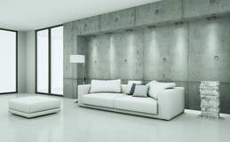 Jaskrawy pokój z białą cpncrete ścianą i kanapą ilustracja wektor