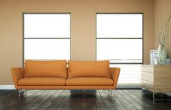 Jaskrawy pokój z pomarańczową kanapą przed brown ścianą royalty ilustracja