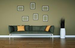 Jaskrawy pokój z popielatą kanapą przed brown ścianą royalty ilustracja