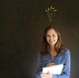 Jaskrawy pomysłu lightbulb myśleć biznesowej kobiety Zdjęcia Stock