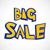 Jaskrawy projekt Duża sprzedaży ulotka kolor żółty z błękitnym uderzenie tekstem nad bielem Komiczny kreskówka styl sprzedaży dys ilustracji