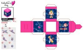 Jaskrawy pudełkowaty szablon z płaskim amorkiem i parą ilustracja wektor