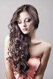 Jaskrawy purpur oka wieczór makijaż, portret Fotografia Stock
