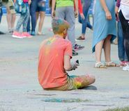Jaskrawy rozochocony festiwal colours Obrazy Royalty Free