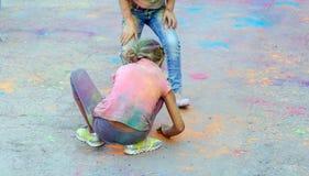 Jaskrawy rozochocony festiwal colours Fotografia Stock