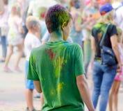 Jaskrawy rozochocony festiwal colours Zdjęcia Royalty Free