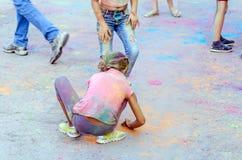Jaskrawy rozochocony festiwal colours Zdjęcie Stock
