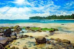 Jaskrawy słońce na morzu Fotografia Stock