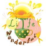 Jaskrawy słonecznik w teacup royalty ilustracja