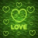 jaskrawy serce Retro błękitny neonowy serce znak Fotografia Royalty Free