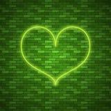jaskrawy serce Retro błękitny neonowy serce znak Zdjęcia Royalty Free