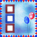 Jaskrawy stubarwny tło z ramami, balonami i confett, royalty ilustracja