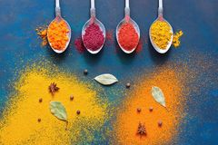 Jaskrawy tło barwić pikantność w łyżkach Odgórny widok, miejsce dla twój teksta lub reklama, obrazy stock