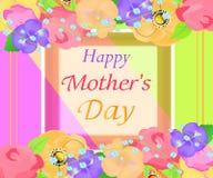 Jaskrawy tło matek dzień z pięknym kwiatu kartka z pozdrowieniami Projekt dla plakatów, sztandarów lub kart, wektor Zdjęcia Royalty Free
