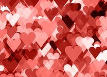 Jaskrawy tło wiele czerwieni i menchii serca obraz stock
