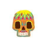 Jaskrawy Tradycyjny meksykanin Malująca koloru Scull ikona ilustracja wektor